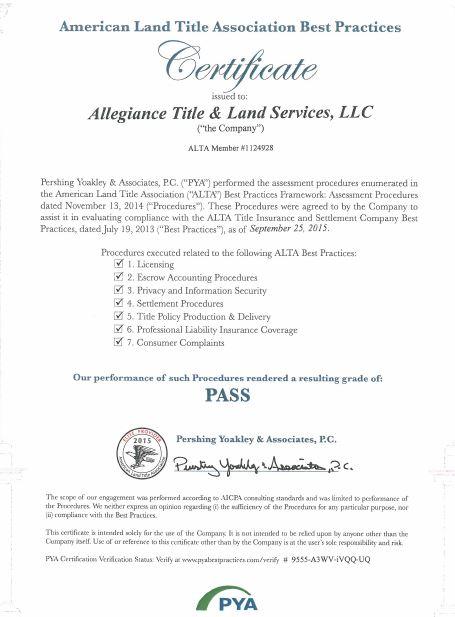 ALTA BEST PRACTICES CERTIFIED! ‹ Allegiance Title & Land Services